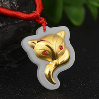 High quality and multi style, Hetian Jades inlaid with goldes, small Fox pendant Pendant FREE SHIPPING