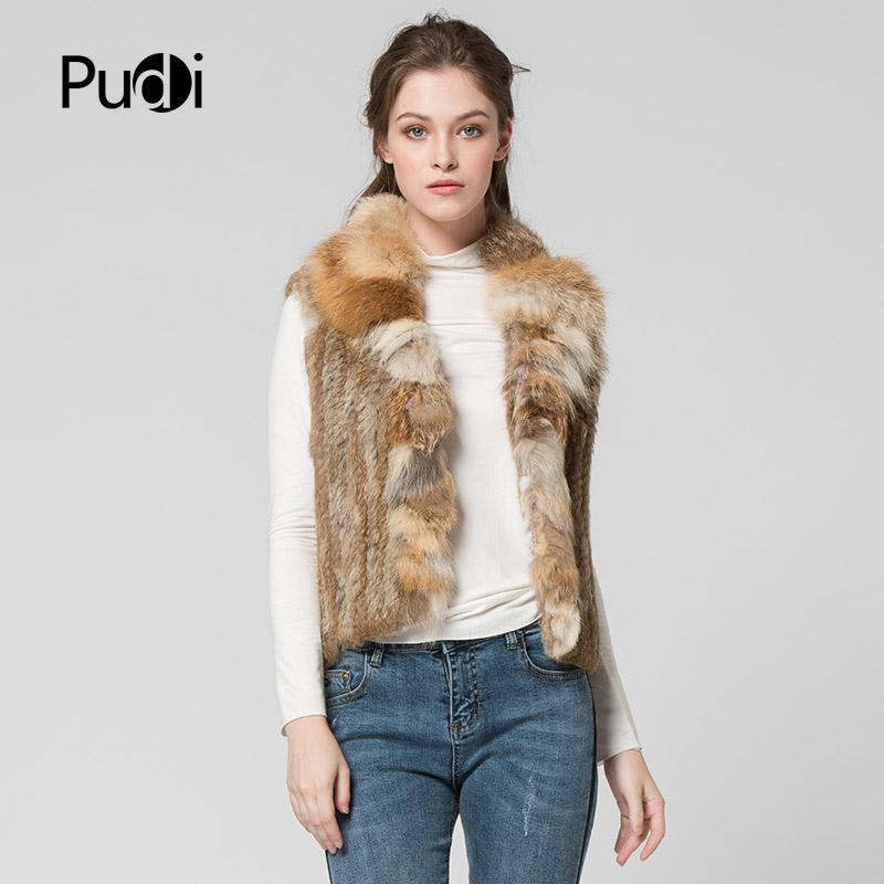 VT7007 The new winter women's vest Classical Knitted Rabbit Fur Vest Gilet with fox fur collar vest women's vest