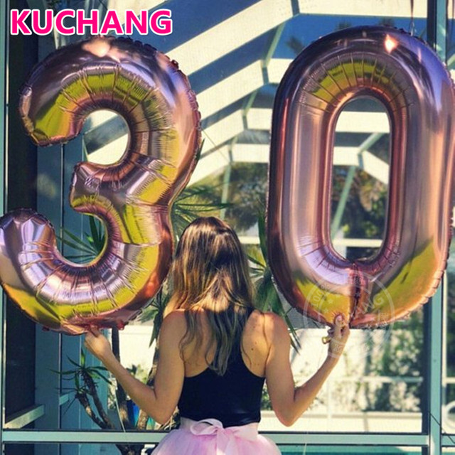 1pc 16/30/40inch Rose Gold Silver Blue Pink Black Number Digital Foil Helium Balloons 0-9 Birthday Anniversary Party Decorations