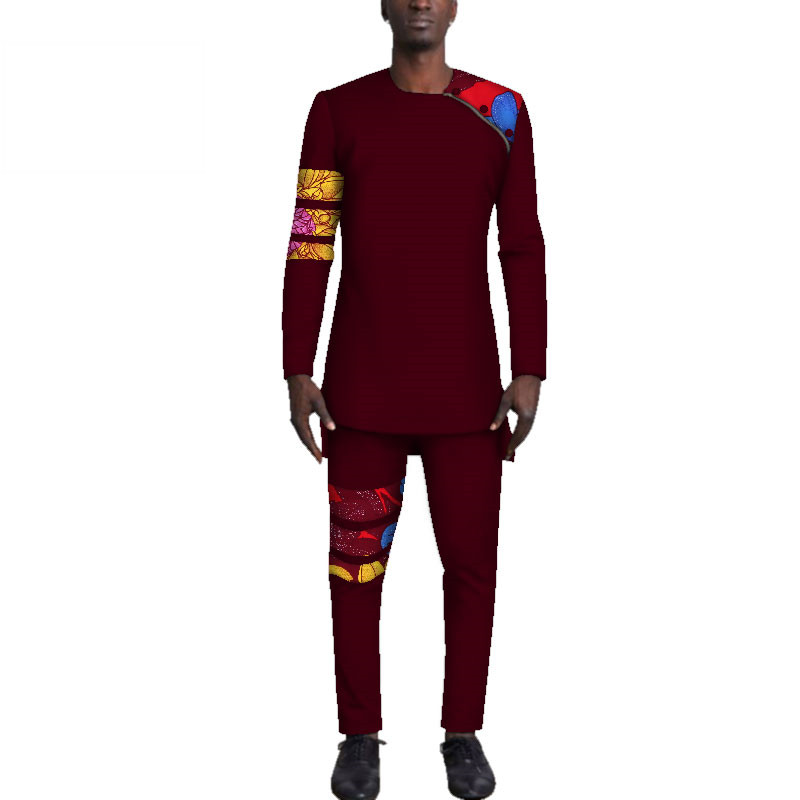Casual-Mens-African-Clothing-Bazin-Riche-Patchwork-Top-Shirt-and-Pants-for-Men-Custom-100-Cotton(15)