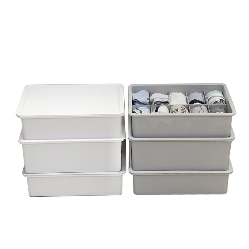 Plastic Underwear Organizer Box For Closet Bra Ties Storage Case With Cover Container Drawer Socks Divider Separator Bins