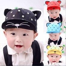 Korean Baseball Caps Kids Children Hats Cartoon Cat Cotton Flat Brim Baby Girls Boys Snapback Hip-hop Hat 5 Colors