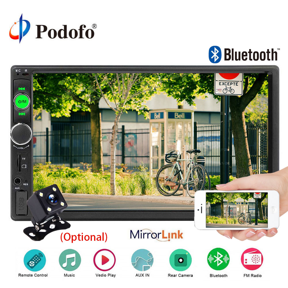 Podofo autoradio 2 Din Car Radio Bluetooth 2din Multimedia Player 7 car stereo Player Mirror Link Audio Backup Camera Monitor
