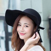 Moda Feminina Chapéu de Feltro Cloche Disquete Aba Larga Bowknot Fedora Cap -MX8(China 27806155c70