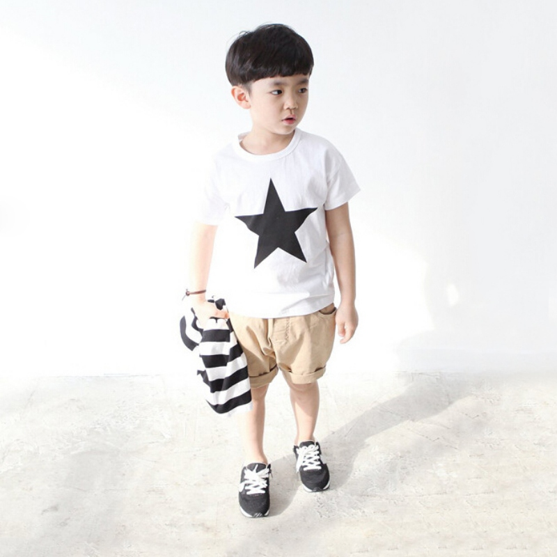 Summer Kids Baby Boys Star Print T-Shirt Baby Children Short Sleeve Clothing Roupas Infantis Menino