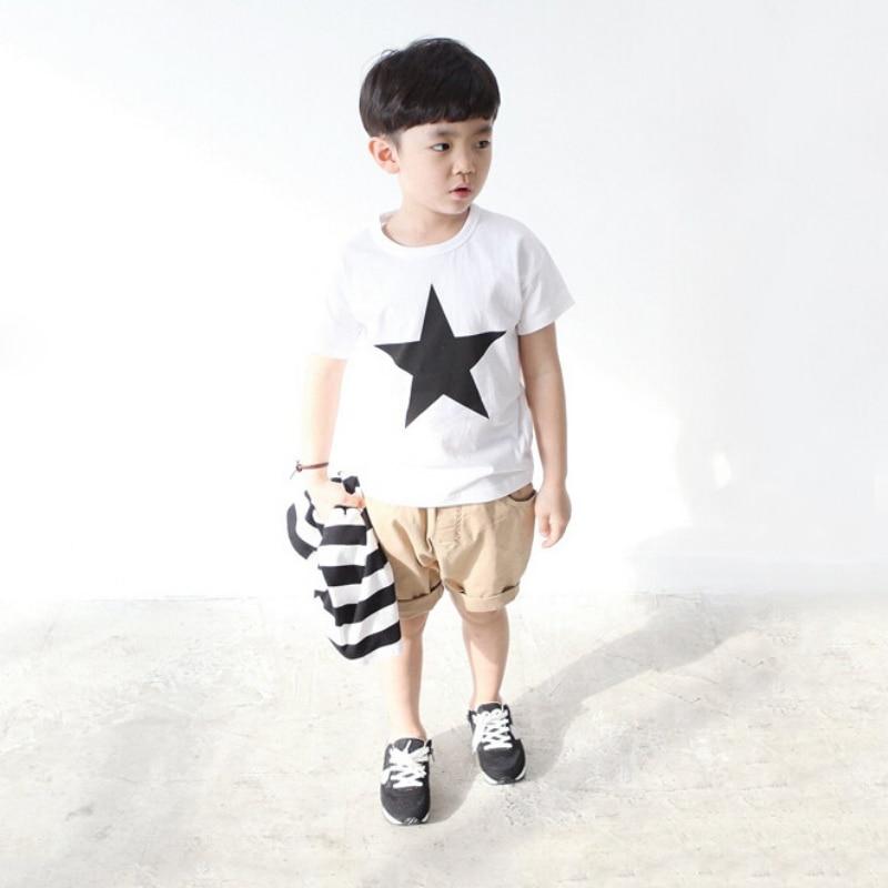 Summer Kids Baby Boys Star Print T-Shirt Baby Children Short Sleeve Clothing Roupas Infantis Menino