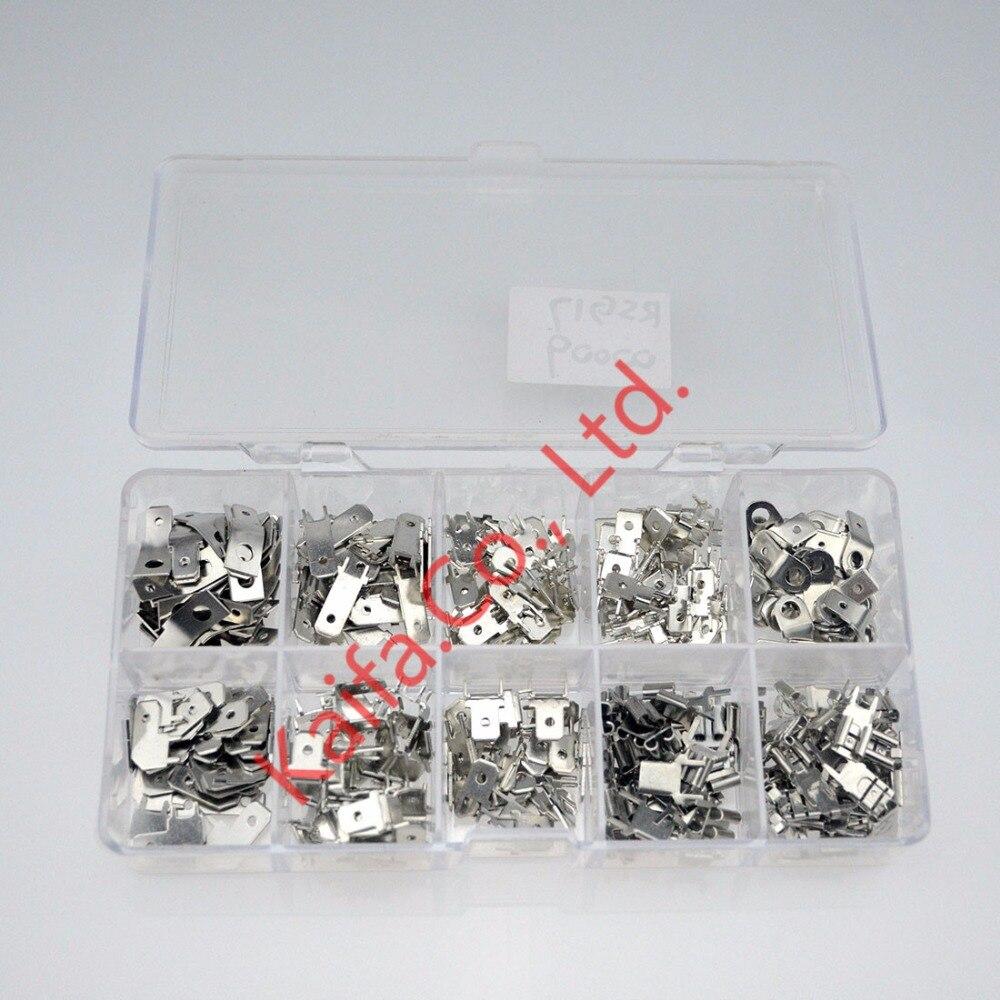 цена на 250pcs 6.3 Inserts Plug Spring Terminal  PCB Solder lug Corner Flag,PCB welding sheet