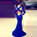 NEW Fashion Dress Sexy Vestidos De Fiesta Open Back Bandage Sleeves Royal Evening Long Backless Ball Gown Party For Women