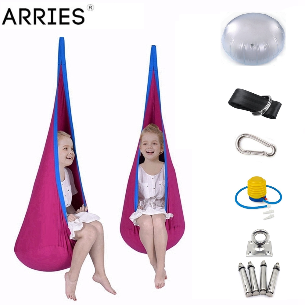 ARRIES Colorful Children Hammock Garden Furniture Pod Swing Chair Indoor Outdoor Hanging Seat Child Swing Seat Patio Portable