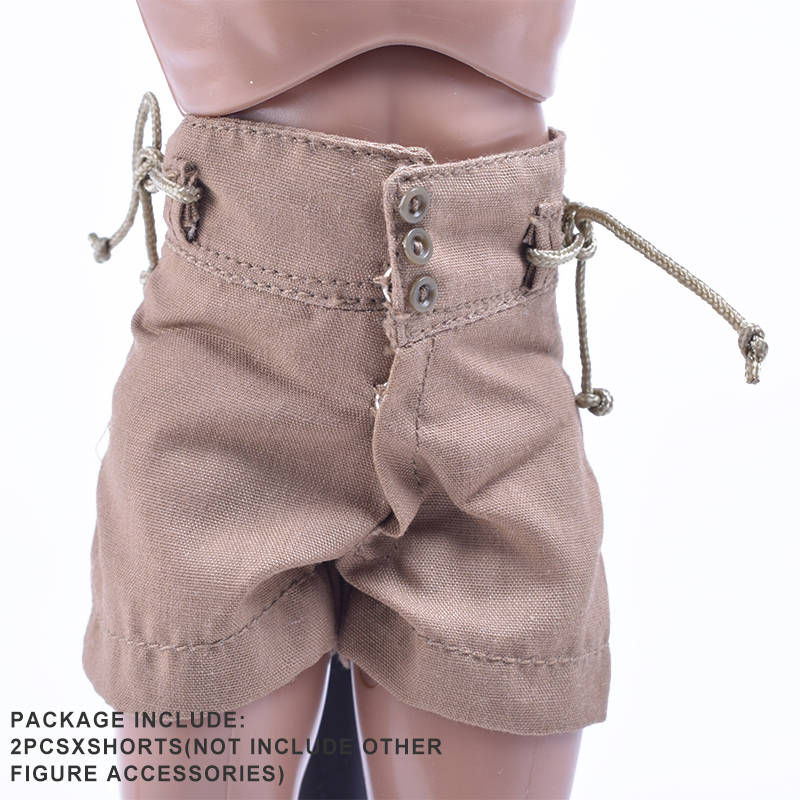 2PCS 1/6 Scale Soldier World War II US Military Short Pants For 12 Inch Phicen Action Figure General Use Clothes Accessories