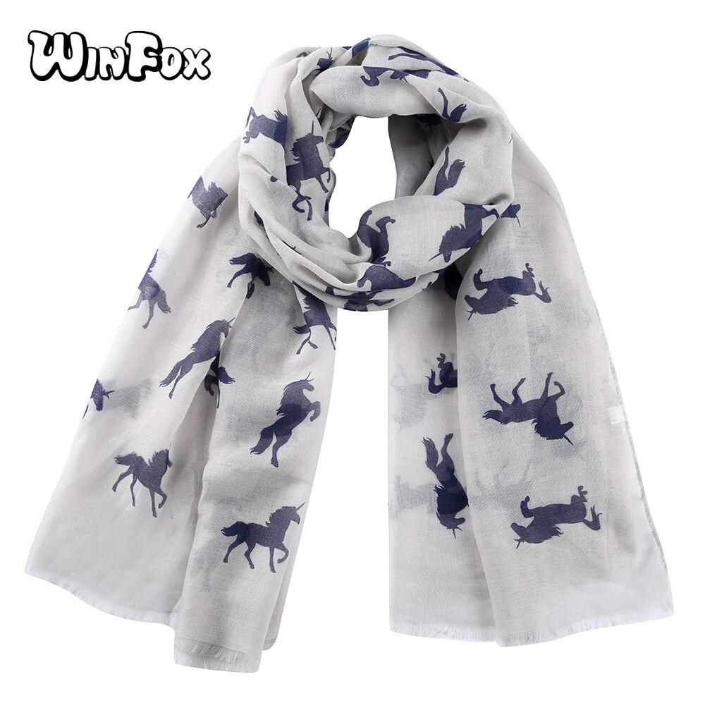 Winfox Fashion Women Ladies   Scarves   Unicorn Horse Print Long Pink Grey Female   Scarf     Wrap   Shawl