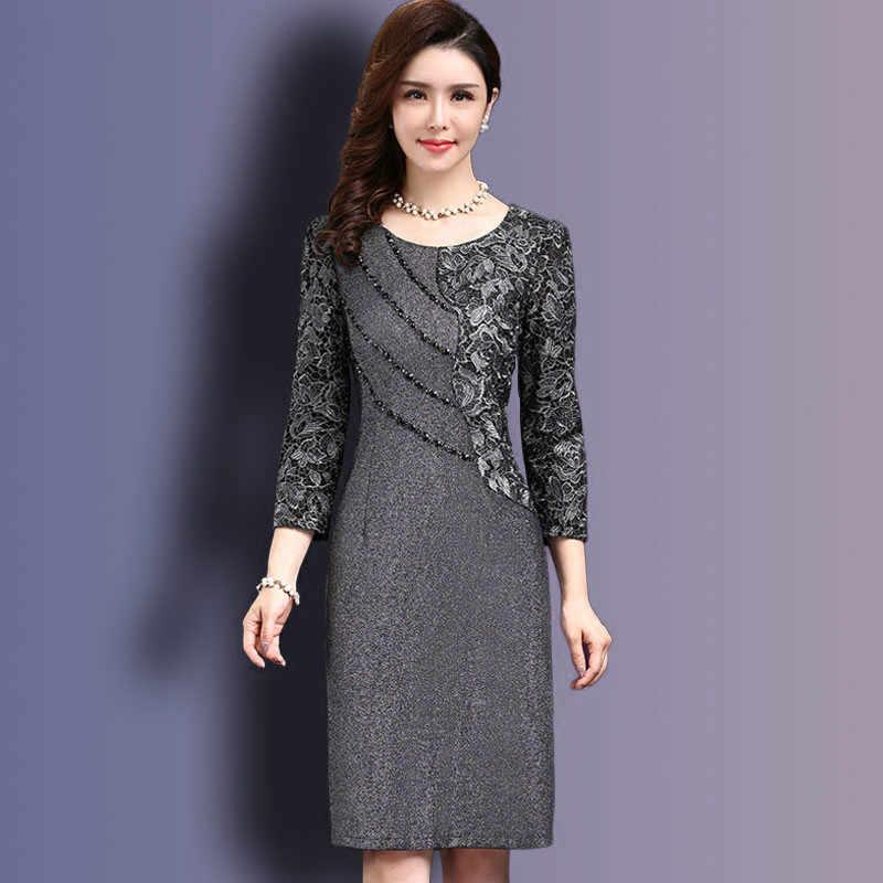 53066fb758938 Women Sexy Dress 2019 autumn Elegant Women Winter 3/4 Sleeve Knee Length  Vintage Ol