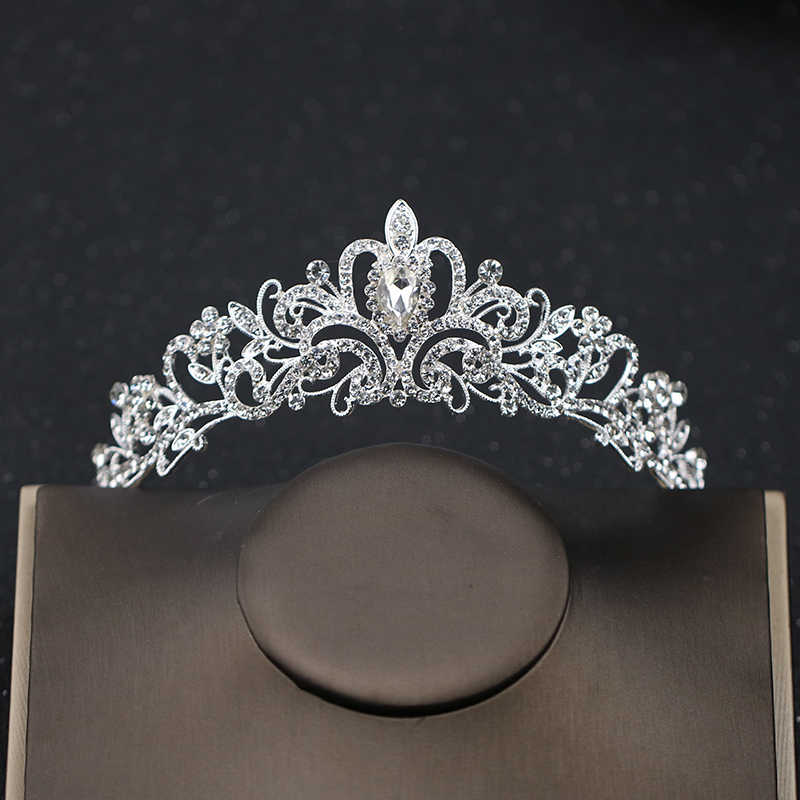 Trái Tim pha lê Vương Miện Vương Miện Bạc Headband Rhinestone Tóc Đồ Trang Sức Tóc Cô Dâu Đám Cưới Phụ Kiện Cho Phụ Nữ Mũ