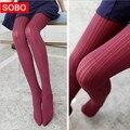 2016 120D Tendência Knitting Alta Elástico Super Slim das Mulheres Meia-calça Moda Casual Listras Verticais Calças Justas 10 Cores Navio Livre