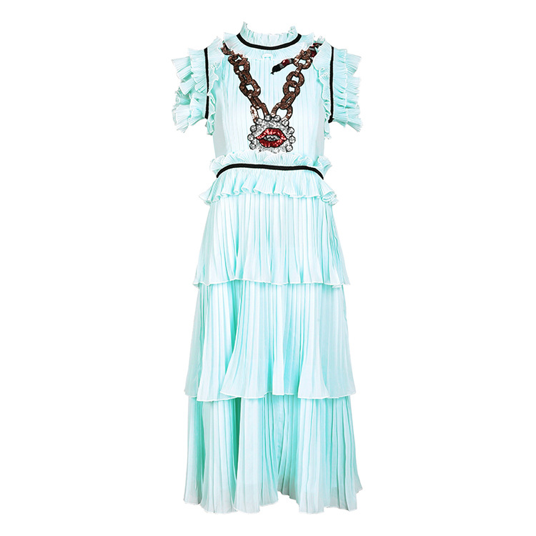 Hot fashion sequin ruffled layered dress 2018 summer runways ruffles cake chiffon dress D210 in Dresses from Women 39 s Clothing