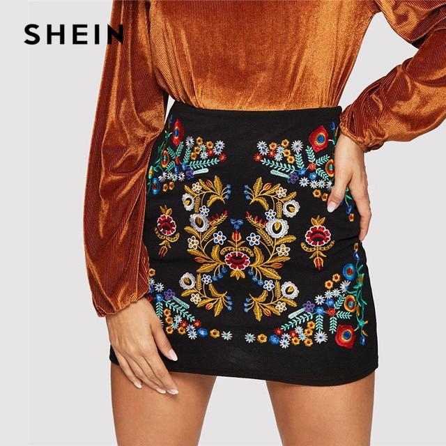 ecc7b2b432 SHEIN Black Botanical Embroidered Textured Skirt Casual Zipper Night Out  Mini Skirts Women Spring Elegant Workwear