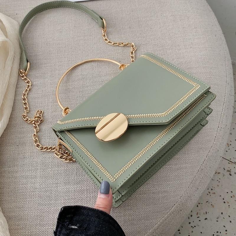 Matcha Green PU Leather Chain Design Crossbody Bag