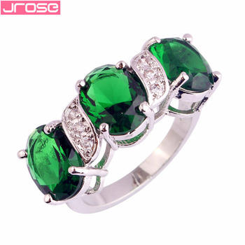 JROSE Wholesale $0.99 !! Endearing Wholesale Green & White CZ Silver Color Size 6 7 8 9 10 Jewelry Sightly Fashion Gift image