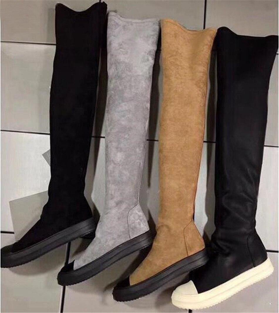 Rabatt Graue Flache Knie Hohe Stiefel   2019 Graue Flache