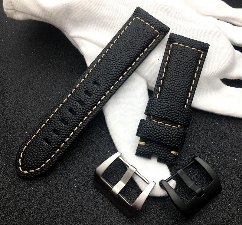 New Design 24mm Watch Accessories Watchbands BLACK Genuine Leather Watch Band For Panerai Strap Watch Bracelet Belt PAM