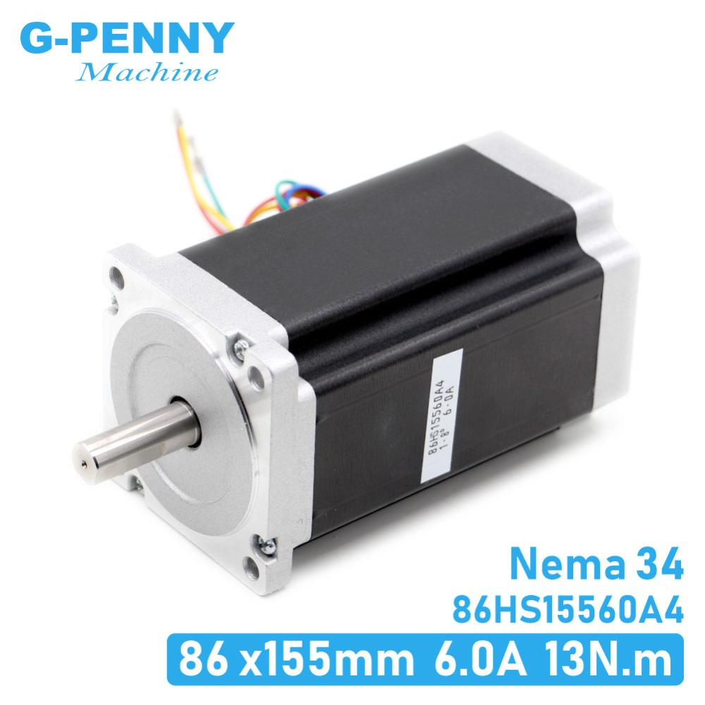 NEMA 34 CNC stepper motor 86X155mm 13 N.m 6A Diameter 14mm Nema34 stepping motor 1700Oz in for CNC engraving machine high torque
