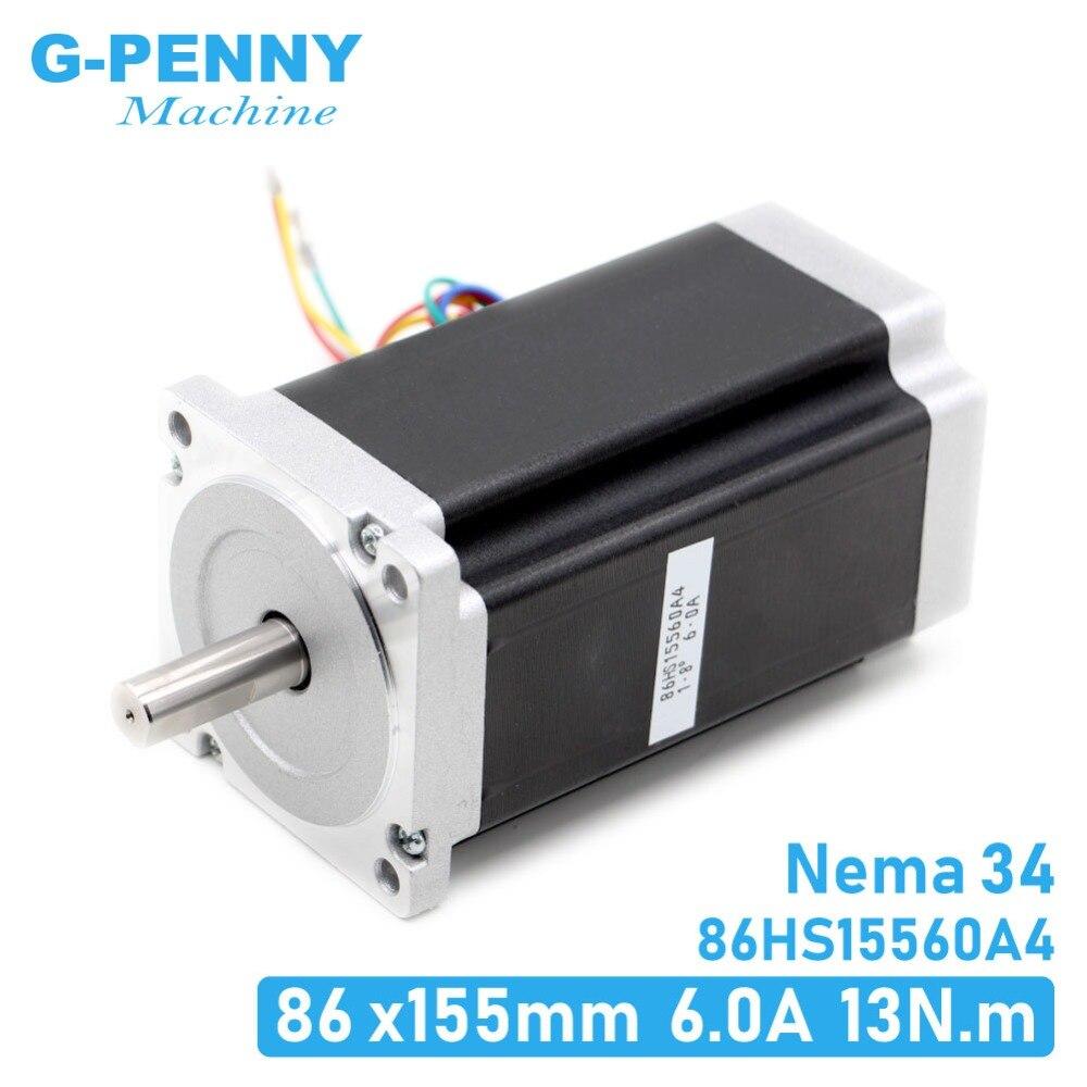 NEMA 34 motore passo-passo di CNC 86X155mm 13 N. m 6A Diametro 14 millimetri Nema34 1700Oz-in per macchina per incidere di CNC del motore passo-passo ad alta coppia