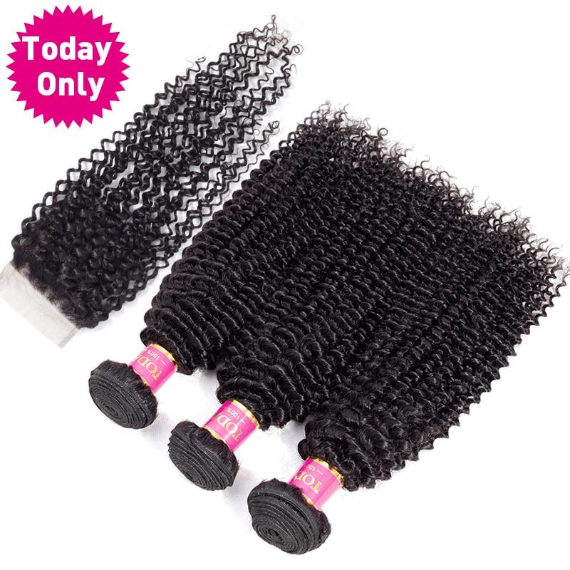 Сегодня только бразильский вьющиеся волосы 3 Связки с закрытием человеческих волос глубоко бразильский плетение волос Связки с закрытием