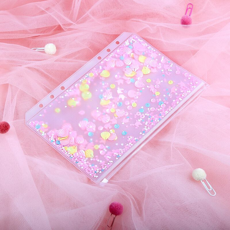A5A6 Pink Shell Sequins Spiral Zipper Bag Divider Planner Accessories Diary Notebook File Storage Bag