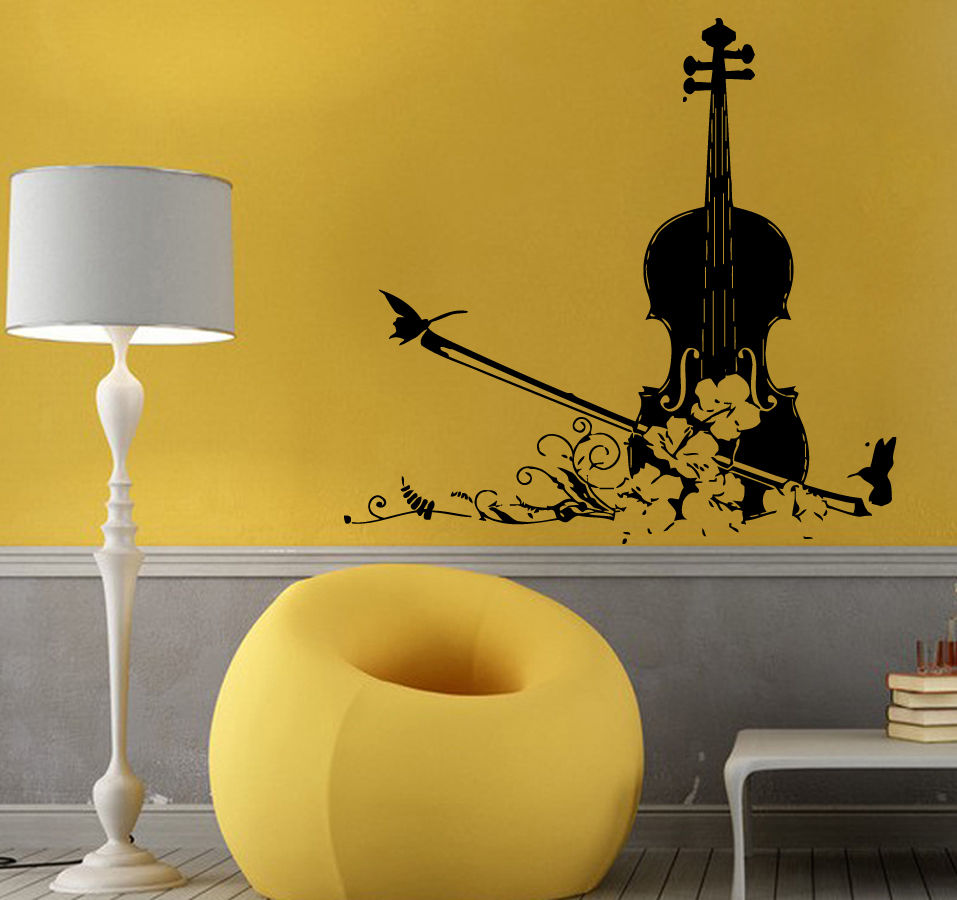 Music Vinyl Wall Decal Music Floral Violin Design Musical Mural Art ...