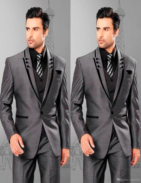 2018 Gentlemen One Button Shine Grey Groom Tuxedos Best Man Suits ...