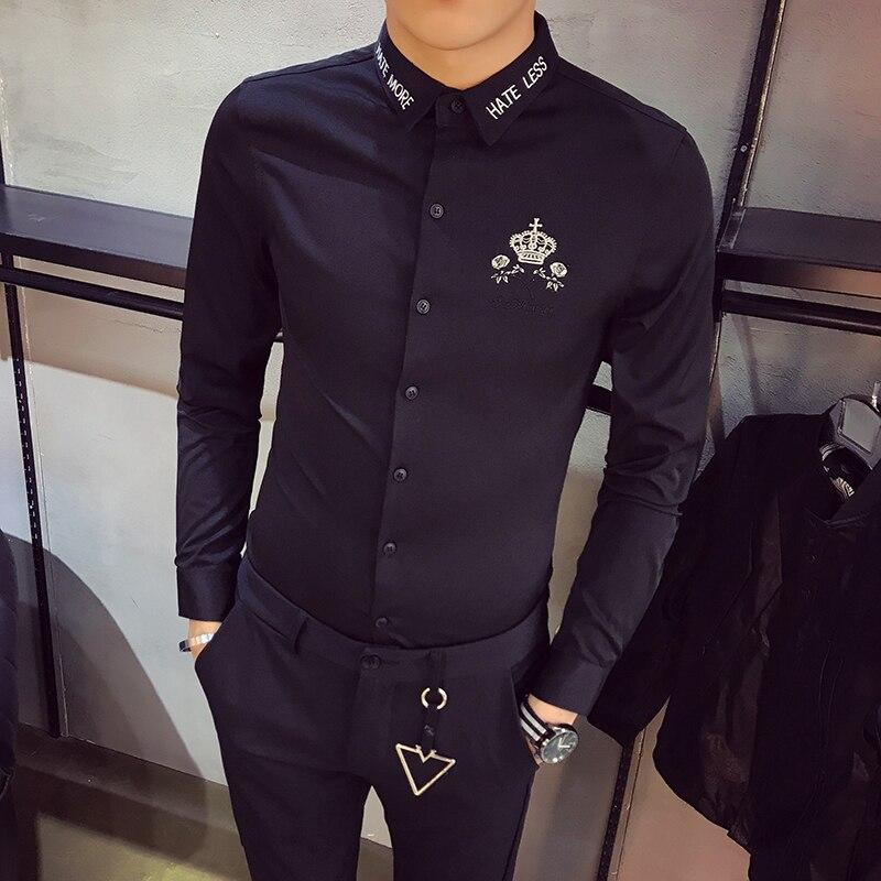 Высокое качество Для мужчин смокинг рубашка 2018 Новинка весны Slim Fit платье с вышивкой Рубашки Для мужчин ночной клуб с длинным рукавом социал... ...