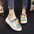 DreamShining Summer Korean Muffin Slippers Female Fish Head Lace Casual Canvas Flat  With Heavy-Bottomed Sandals