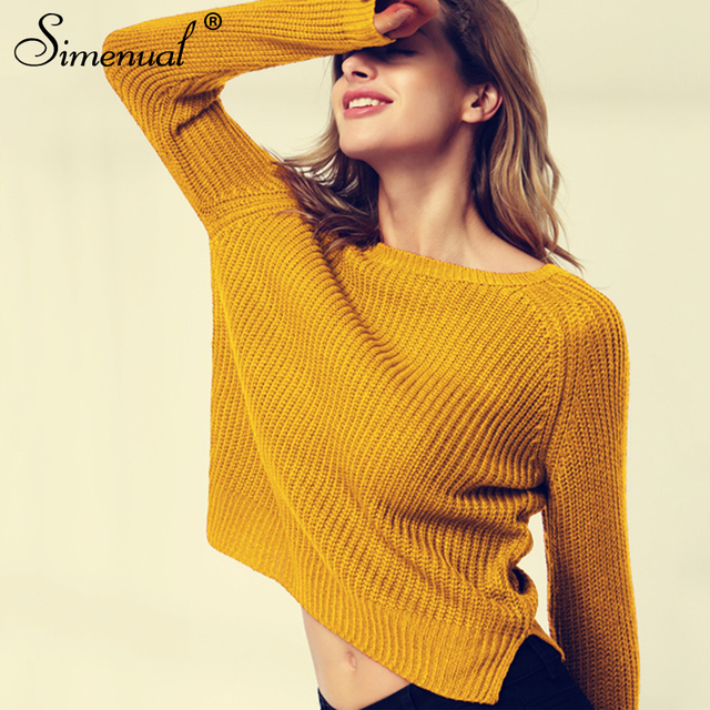 Korean style long sleeve casual crop sweater slim solid knitted jumpers