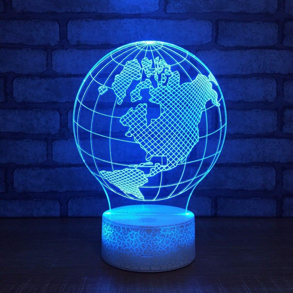 New White Base Globe Usb 3d Night Light Creative Illusion