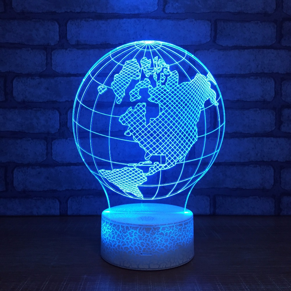 New White Base Globe Usb 3D Night Light Creative Illusion 3d Lamp LED 7 Color Changing USB Touch Desk Table Lamp For Kid's Gift image