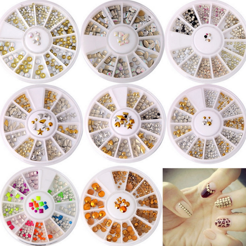 Mixed Color Rose Gold Rivet Nail Studs 3D Nail Art Decoration Circle Star Round Square Accessories In Wheel For DIY Art circle