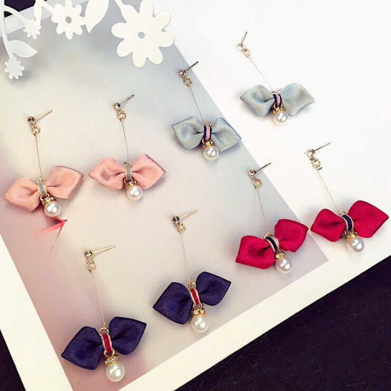 Hot Korean Women Girls Bowknot Pink Gray earrings 2018 New Pearl earrings for women gifts