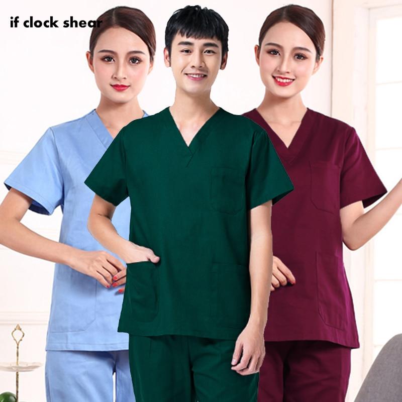IF High Quality Unisex Hospital Doctor Nurse Scrub Tops Medical Surgical Uniforms Dentist Clinic Pharmacy Pet Veterinar Workwear