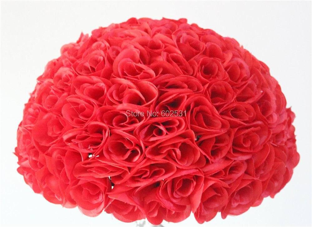SPR 4pcs / lot כדור פרח מלאכותי, חתונה קישוט -40cm מנשק פרח הכדור, מסיבת החתונה פרחים 20 צבעים זמין