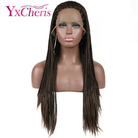 24 Afro Long Synthetic Lace Front Braided Wigs for African Black Women 3X Box Braids Hair Brown Cosplay Party Wigs