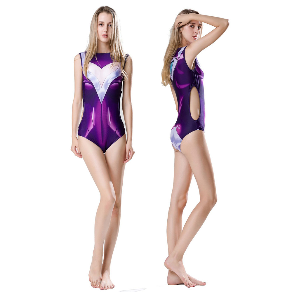 Anime One Piece Swimsuit Game LOL DJ Sona Ethereal Cosplay Costume Women Vintage Retro Bathing Suits Monokini Swimsuit Plus Size