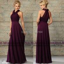 2017 new fashion romantic long chiffon purple bridesmaid dress vestido de festa de casamento formal dress to party Custom Make