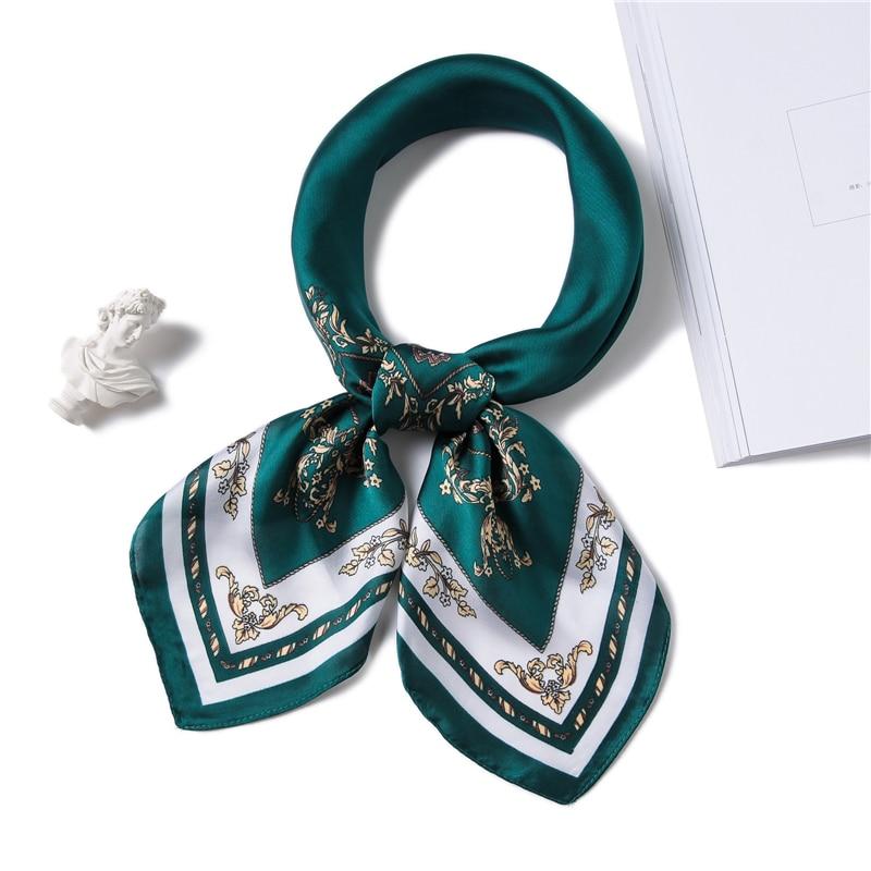 New 70*70cm Square Scarf For Women Luxury Brand Print Small Neck Scarves Silk Feeling Foulard  Elegant Lady Office Hair Scarf
