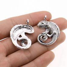 Wysiwyg 3 pçs encantos lagarto camaleão antigo prata cor 26x36mm liga de metal jóias diy acessórios