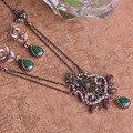 Marca de moda de Luxo Colar Turca Jóias Liga de Estanho Turkishe Emeralde Nobre Jóias Joias Indianas Do Vintage Conjuntos de Jóias do REINO UNIDO