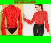 Female chiffon laciness lantern sleeve white red slim long sleeve body shirt for women 816 Red Blouses Siamese shirt