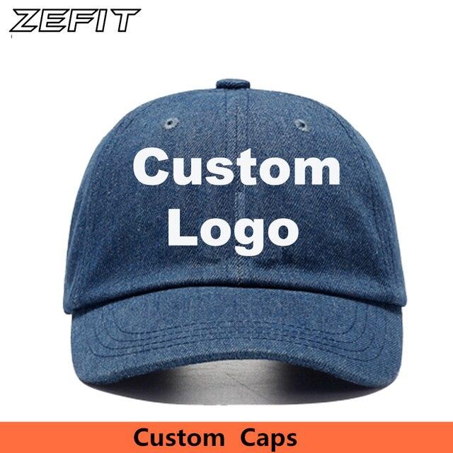Custom Denim Baseball Cap Embroidery Brand Logo Men Women Casual