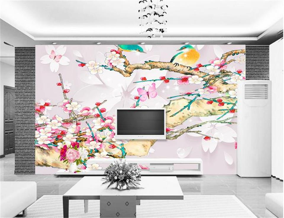 3d wallpaper photo wallpaper custom mural bird flower plum blossoms setting wall painting 3d wall murals wallpaper for walls 3 d custom photo 3d ceiling murals wall paper blue sky rose flower dove room decor painting 3d wall murals wallpaper for walls 3 d