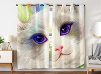 Blackout Curtains 2 Panels Grommet Curtains for Kids Bedroom Cute Cat Print Kitten Kitty Photography Lovely Pet