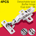 4pcs/set Small Hinges Mini Built-in Damping Hydraulic Buffering Mute Pipe Furniture Display Cabinet 26mm Hinge Cup